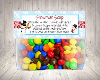 Snowman Soup Bag Topper / Christmas Bag Topper / Favor Bag Topper / Snowman Bag Topper / Favour Bag Topper / Printable / Instant Download