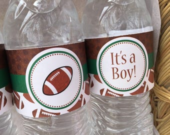 Football Water Bottle Wrappers, Football Birthday Water Bottle Labels, Football Birthday, Sports Birthday, Football Baby Shower, Instant