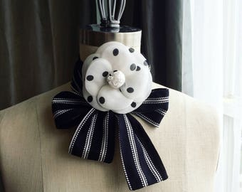 NEW Polka dot Silk Camellia Brooch/Camellia Brooch/Camellia Brooch/Luxury gift/Couture Camellia brooch/Bridal couture/