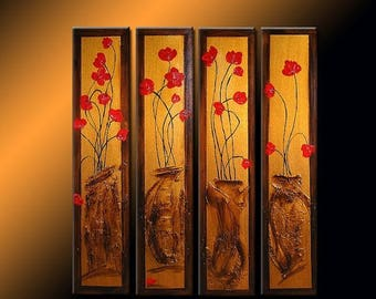 Original Abstract Art  Contemporary textured Floral Metallic by Henry Parsinia Large 32X36