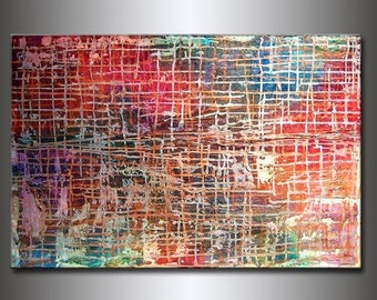 Textured Modern Large Abstract Metallic Thick Texture Gallery Canvas Contemporary Fine Art By Henry Parsinia 36x24