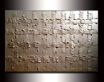 Abstract Texture Painting, Original Thick Texture White Pearl Metallic Acrylic painting by Henry Parsinia 36x24