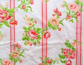 Queen flat bed sheet, red stripes, peach pink flowers vintage bedding, cottage chic bed linen vintage fabric quilt backing, upcycle 98 x 109