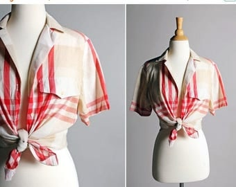 SALE Vintage Summer Button Up Plaid Blouse - Americana Red White Tan Boxy Short Sleeve Oxford Top Shirt Cotton Woven Pin Up - Size Large L