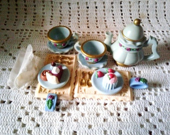 Mattel Doll Tea Set 1998 Teapot Sweets Trays Napkins