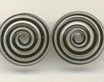 15mm range, Tom's lampwork black swirl 2 disc bead spacer set, 1 pair, 95998