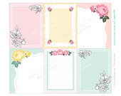 Floral Hanky Journal cards -Digital File Instant Download-Planner Inserts, travelers journal, Project Life, flowers, roses, 1940s, vintage