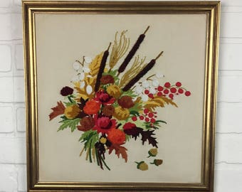 Vintage Handmade Crewel Embroidery Large Framed Picture