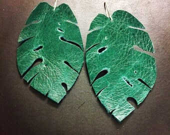 Monstera Leaf earrings, Leather earrings