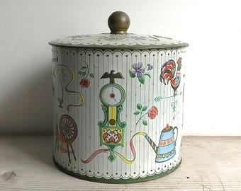 Vintage Tin Made In England Folk Images Teapot Spinning Wheel Roses Rocking Chair