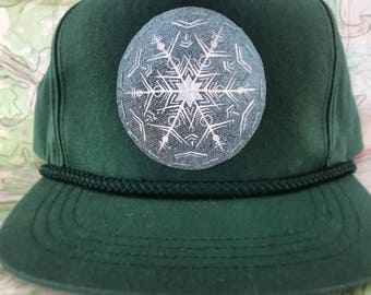 Hand painted snowflake  snapback hat