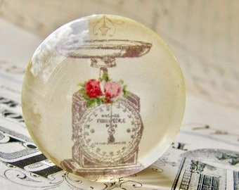 Old Fashioned Kitchen Scale from our Vintage Kitchen collection, handmade glass oval cabochons, 25mm circle, food, round bottle cap 1 inch