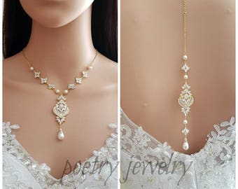 Gold Backdrop Bridal Necklace, Wedding Back Necklace, Crystal Backdrop Necklace, Swarovski Pearls, Rose Gold Bridal Necklace, Maya