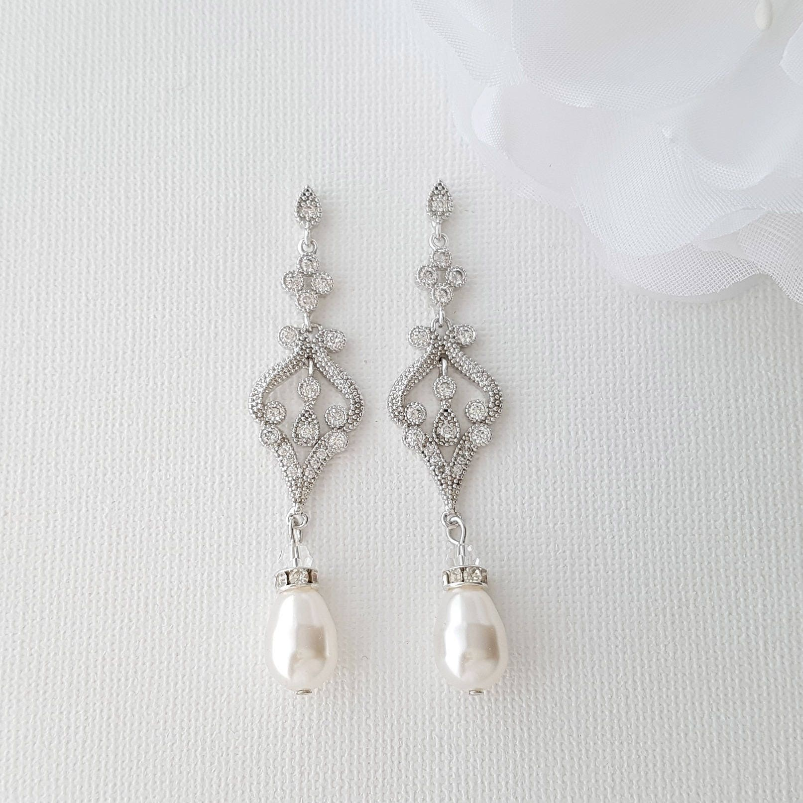 Vintage Style Earrings: Vintage Style Wedding Earrings Pearl Wedding Jewelry Bridal