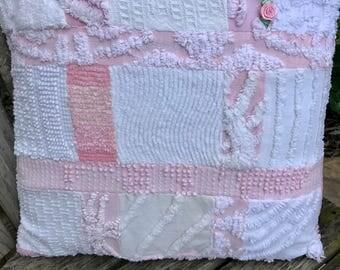 Pink White Vintage Chenille Patchwork Pillow Handmade Doodaba Lake Patio Nursery