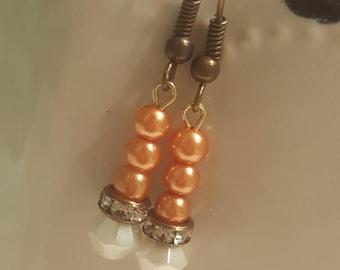 Sherbert Coral Orange Ivory Pearl Bohemian Fall Winter Witchy Vintage Dangle Earrings