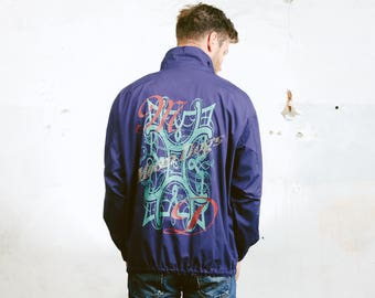Mens Parka Jacket . Back Print Jacket Vintage 80s Lightweight Long Jacket Festival Jacket Outerwear . size Small
