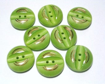 Green Glass Vintage Buttons 18mm Set Chunky Buttons Gilded Highlights Sewing Buttons with holes