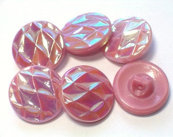 Pink Iridescent Glass Vintage Buttons 19mm AB Luster Set of Pretty Buttons