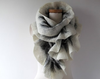 Felted scarf Grey scarf ruffle collar, wet felted ruffle scarf ,  White Black grey collar by Galafilc gift for her outdoors gift