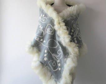 Felted scarf real fur grey wrap fur scarf Fur stole Grey wool shawl  real Fur shawl outerwear by Galafilc