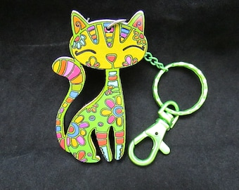 Green Flower Patch Cat Key Chain