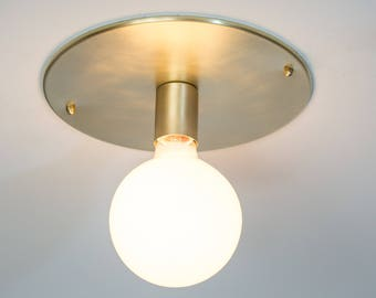 Wall Sconce Lighting or Flush Mount Ceiling Light - Large Brass Mid Century Modern - The Audrey Flushmount