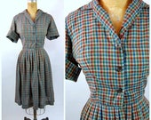 ON SALE 1960s Red and Blue Gingham Shirtwaist Dress // Georgia Griffin Fashions // Early 60s - late 1950s Gingham house dress Checkered Plai