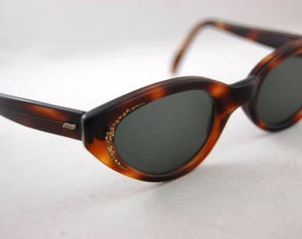 1950s Cat-Eye Eyeglasses - Rhinestone Cat eye glasses - Tortoise Shell Eye Glasses