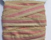 5 yards,shabby chic, tea dyed,ribbon,pink white hand torn,vintage, narrow  paris tag, 1394