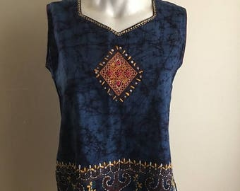 SUMMER SALE Blue Embroidered Cotton Bohemian Indian Tunic Tank Top •