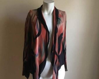 SUMMER SALE Wearable Art Vintage Silk Open Jacket • Avant Garde Art Piece • One of a Kind