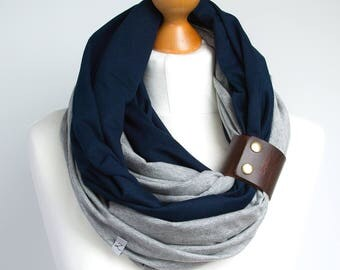 Infinity scarf with leather cuff, infinity scarves by ZOJANKA, cotton lightweight infinity scarf, spring scarves, casual scarf, gift ideas
