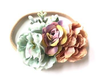Baby Headband - Flower Headband - Flower Garland - Bouquet - Silk Flower - Nylon Headband - Autumn Fall Style - Faded Blue Mauve Plum