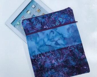 Blue & Purple Batik iPad Case Purse eReader Note Laptop Sleeve Case Optional Cross Body Shoulder Strap Made to Order