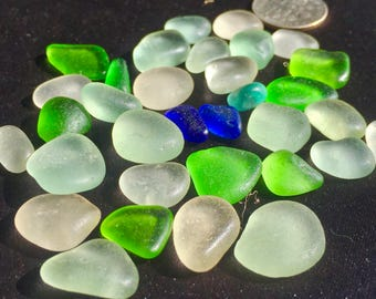 A-Sea Glass or Beach Glass from Hawaii Beaches  COBALT Pair! LIME!  SALE 31 dollars! Bulk Sea Glass! Genuine Sea Glass! Seaglass!