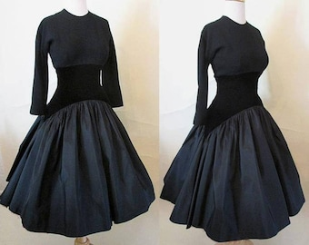 """Chic New Look 1950's Designer Cocktail Party Dress by """"Samuel Winston by Roxane"""" with extraordinary skirt VLV Rockabilly Size"""