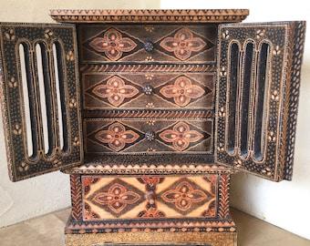Vintage Indonesian Batik Wood Jewelry Chest Hidden Drawers
