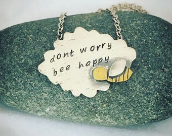 Bumblebee Necklace, Sterling Silver Pendant, 'Don't Worry Be Happy', fun necklace gift for Her, Mum, Sister, Auntie, Nature Lover Present