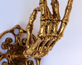 Gold  Plated Skeleton Hand Wall Hook Coat Rack Curtain  Rod Holder Jewelry Rack Made in NYC