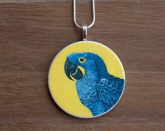 Macaw Necklace, Macaw Pendant, Vintage Macaw, Handcrafted Jewelry, Gift for Bird Lovers, Free Shipping in US