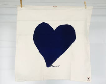 Navy Heart Tea Towel - READY TO SHIP