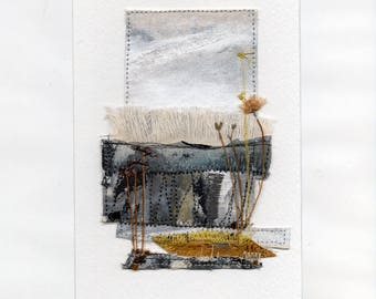 Dartmoor 1  Abstract - Mixed Media Collage - Fabric, Paper, Painting Stitching, Pressed Flowers, Dartmoor, Devon