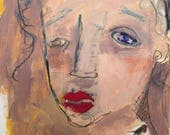 mixed media collage painting on paper original unframed red lips robin on shoulder