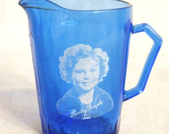 Antique Shirley Temple Cream Pitcher, Creamer, Blue Glass, Female Portrait, Child Star, Souvenir, Promotional, Gift with Purchase, Serving