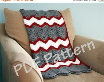 Pattern on the Month Instant download, Crochet afghan pattern, chevron blanket pattern, crochet throw patten, easy baby blanket pattern, per