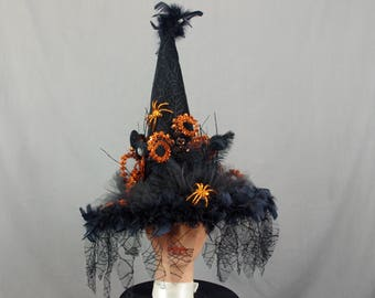 Black Lace Witch Hat, Halloween Witch Hat, Spider Witch Hat, Witch Costume, Costume Hat, Halloween Costume, Black and Orange, Pagan Hat
