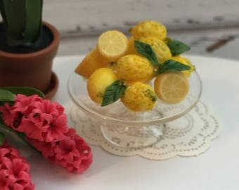 ON SALE Miniature Lemons on Glass Cake Stand, Fancy Lemons, Dollhouse 1:12 Scale Miniature, Food, Dollhouse Accessory