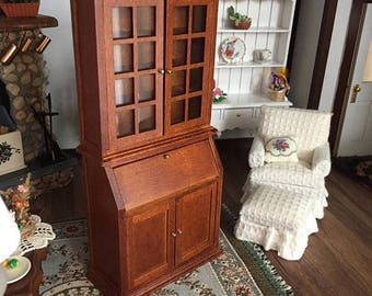 SALE Miniature Bookshelf Desk With Glass Doors Inside Cubbies and Lower Doors, Walnut Book Case, Dollhouse Miniature Furniture, 1:12 Scale,