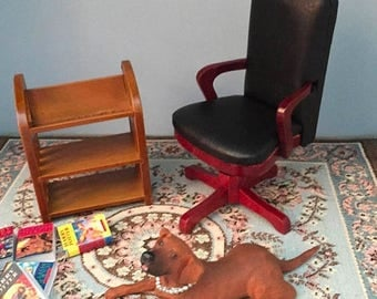 SALE Miniature Desk Chair, Black Swivel Desk Chair, Dollhouse Miniature, 1:12 Scale, Dollhouse Furniture, Wood and Faux Leather Chair